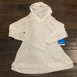 COLUMBIA white see-through light weight hoodie